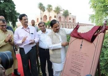 Indian Minister of State for Culture and Tourism Unveils Gold Finial at Humayun Tomb