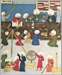 A 16th-century depiction of astronomers at the Galata observatory in Istanbul.Image: Istanbul University Library