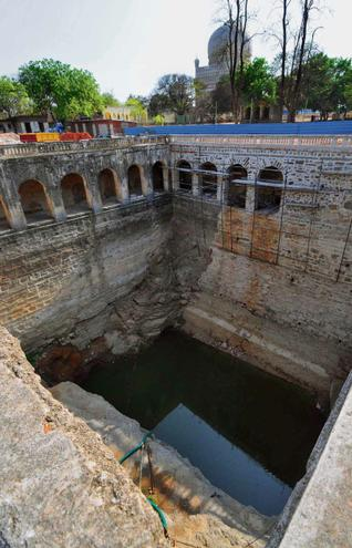16th century well, restored by the Aga Khan Trust for Culture, gathers 100 thousand litres of water during rain-showers