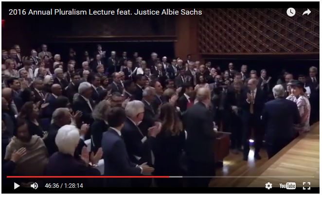 Albie presents HH the Aga Khan SAfrica Bill of Rights - Standing ovation