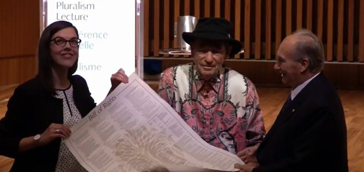 Albie presents HH the Aga Khan SAfrica Bill of Rights