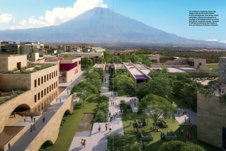 Architect's rendering: Aga Khan University Arusha - Mount Meru in Background
