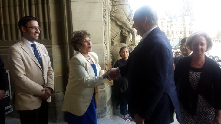MP Yasmin Rattansi welcomes His Highness the Aga Khan to Parliament Hill