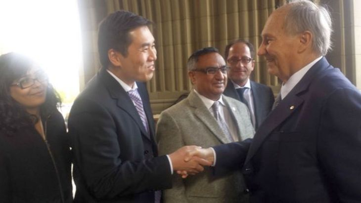 Shaun Chen and other Members of Parliament welcome His Highness the Aga Khan