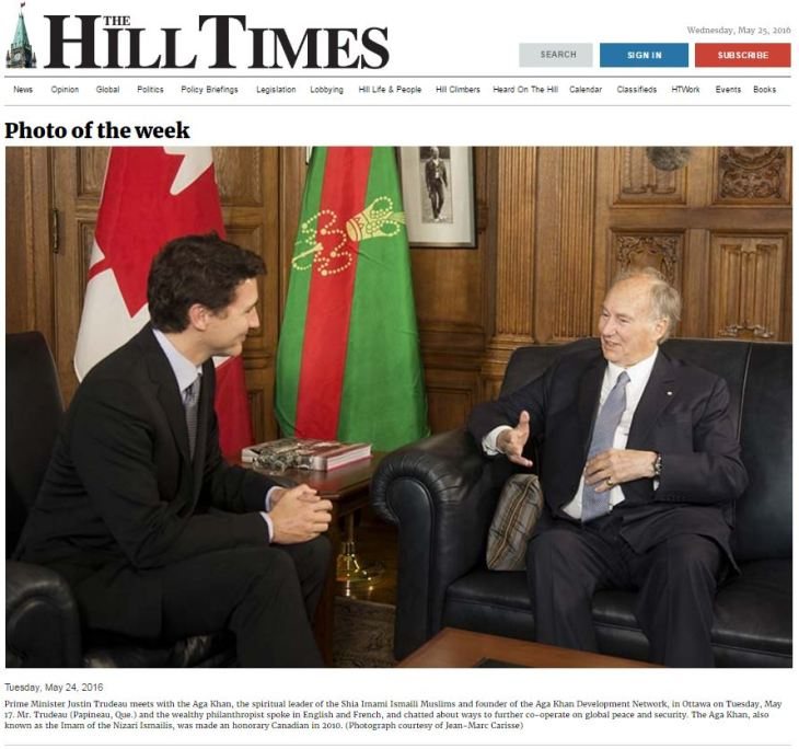 Tuesday, May 24, 2016 Prime Minister Justin Trudeau meets with the His Highness Prince Karim Aga Khan, the spiritual leader of the Shia Imami Ismaili Muslims and founder of the Aga Khan Development Network, in Ottawa on Tuesday, May 17. Mr. Trudeau (Papineau, Que.) and the wealthy philanthropist spoke in English and French, and chatted about ways to further co-operate on global peace and security. The Aga Khan, also known as the Imam of the Nizari Ismailis, was made an honorary Canadian in 2010. (Photograph courtesy of Jean-Marc Carisse)