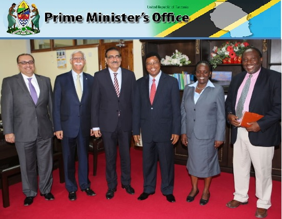 From L-R: Al-Karim Haji (AKU's Vice President, Finance & Chief Financial Officer); AKU's President, Firoz Rasul; AKDN Resident Representative for Tanzania, Amin Kurji; Tanzania's Prime Minister Kassim Fate; Tanzania's Minister of Education, Science and Vocational Training, Professor Joyce Ndalichako; Dr. Joe L. Lugallo (Tanzanian born Health and International Development Consultant) pose for picture at the Prime Minister's Office. (Image credit: Mkluu/ Prime Minister's Office).