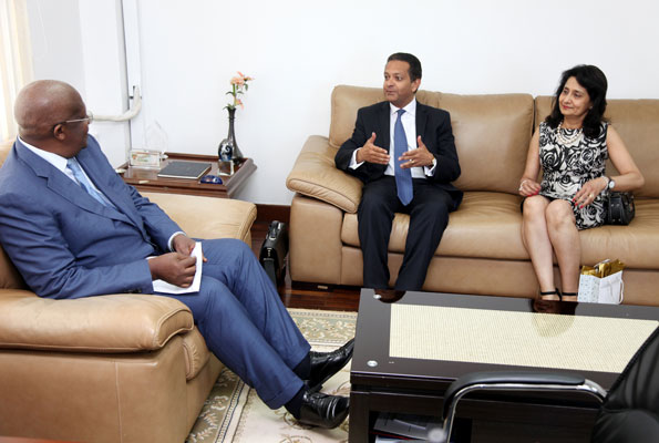 Foreign Affairs minister Sam Kutesa (Left) with Resident Representative of the Aga Khan Development Network Amin Mawji (Centre) with his wife Gulnar Mawji in Kampala yesterday. Photo BY STEPHEN WANDERA