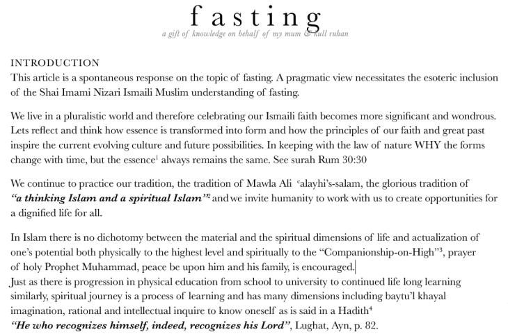 Fasting: Preparation for Laylatu'l Qadr - Article by Yasmin P. Karim
