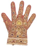 Glove, Palermo, 1220 Vienna. This glove of red silk embroidered with gold thread and ornamented with pearls, rubies, sapphires was made for the coronation of Emperor Frederick II in the royal workshops of Palermo. Image: Sibylle Mazot, Islam: Art and Architecture.