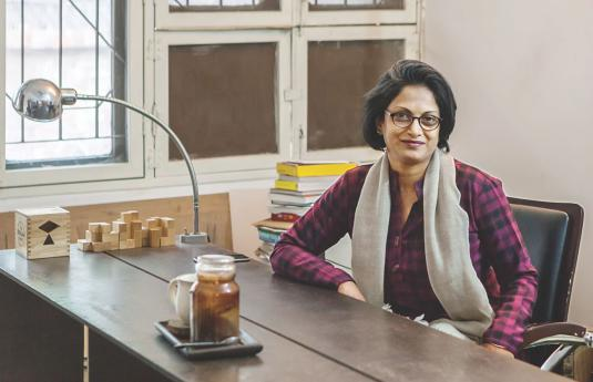 Marina Tabassum at her Dhanmondi office. (Image Credit: The Daily Star \ Hasan Saifuddin Chandan)