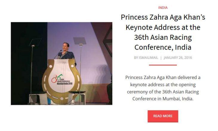 Princess Zahra Aga Khan's Keynote Address at the 36th Asian Racing Conference India