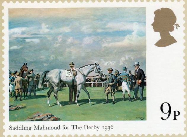 """Saddling Mamoud for the Derby 1936"" single mint stamp issued to commemorate Aga Khan III's record breaking Derby wins and his contribution to British equestrian sport. (Image Credit: ASJM Collection)"