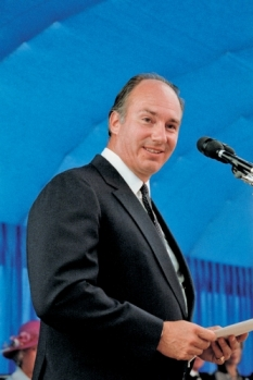 Mawlana Hazar Imam speaking during the Foundation Ceremony of the Ismaili Centre, Burnaby. CHRISTOPHER LITTLE