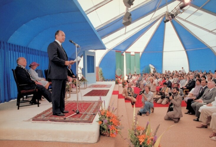 Mawlana Hazar Imam addresses the audience gathered for the Foundation Ceremony of the Ismaili Centre, Burnaby. CHRISTOPHER LITTLE