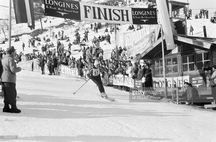 Karim Aga Khan, passing the finish line banner at a skiing competition in the ski resort in the Austrian Tyrol, Kitzbühel, Austria. January 22, 1962 (Photo by Philippe Le Tellier/Paris Match via Getty Images)