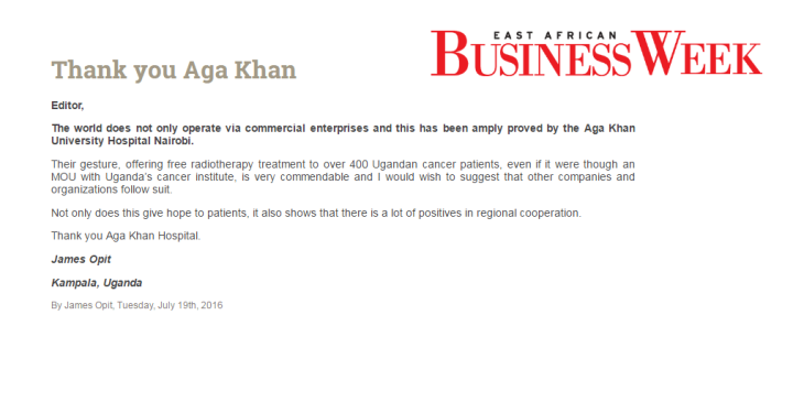 Thank you Aga Khan