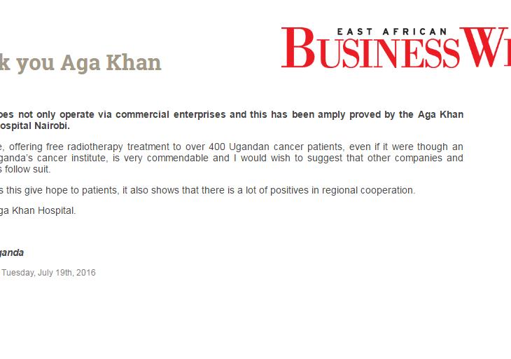 Thank you Aga Khan