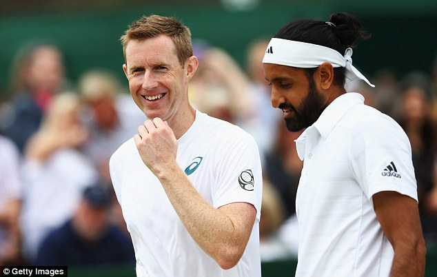 Jonny Marray (left) and Adil Shamasdin defeated Marcel Granollers and Pablo Cuevas 6-3 4-6 6-4 3-6 14-12 (Image credit: Daily Mail)