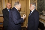Lisbon, Portugal, 12 May 2016: His Highness Prince Karim Aga Khan speaking with former Foreign Affairs Minister Luis Amado as the current Minister of Foreign Affairs, Augusto Santos Silva, looks on. (Image credit: AKDN / Luis Filipe Catarino)
