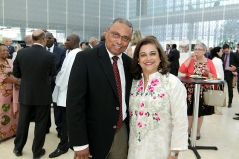 Ambassador of Madagascar Simon Horace with Karima Eboo, spouse of the AKDN Resident Representative to Canada. (Image credit: The Hill Times / Sam Garcia)