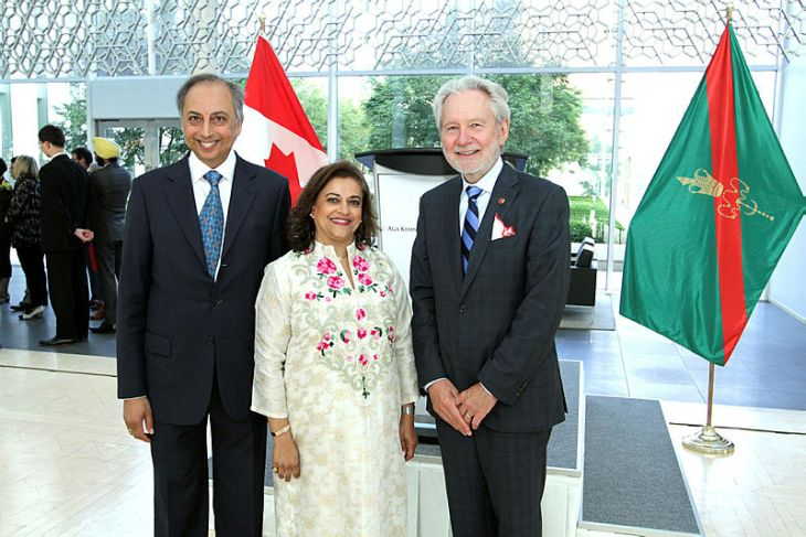 AKDN Resident Representative Dr Mahmoud Eboo and his wife Karima, with the Chief Guest Senator Peter Harder at the Delegation of the Ismaili Imamat. (Image credit: The Hill Times / Sam Garcia)