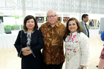 Malaysian High Commissioner Aminahtun Karim with her spouse, Shaharudin Bin Abd Ghani, and Ms. Eboo at the Imamat Day reception. (Image credit: The Hill Times / Sam Garcia)