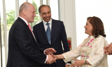 Dr and Mrs Eboo greet United States Ambassador Bruce Heyman at the Imamat Day reception that they hosted at the Delegation of the Ismaili Imamat in Ottawa. (Image credit: AKDN / Safiq Devji)