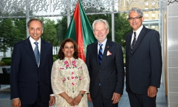AKDN Resident Representative Dr Mahmoud Eboo and his wife Karima, Chief Guest Senator Peter Harder, and Ismaili Council President Malik Talib at the Imamat Day reception. (Image credit: AKDN / Safiq Devji)
