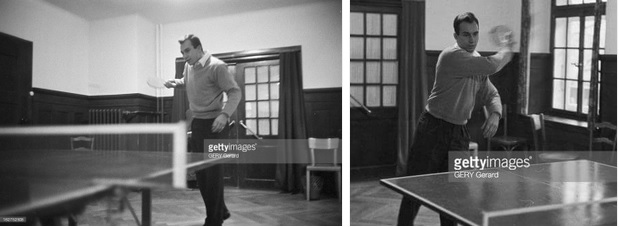 Prince Karim Aga Khan playing tabble tennis in Gstaad, in Switzerland. January 1959 (Photo via Getty Images)