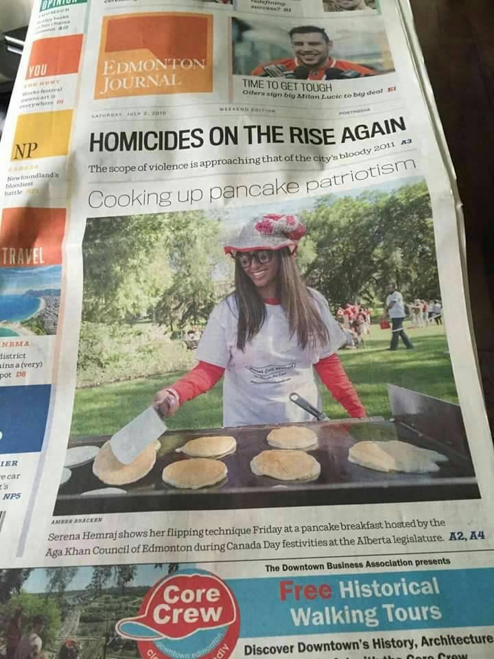 Serena Hemraj - Canada Day on front page of Edmonton Journal