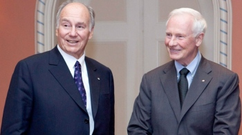 The Aga Khan left with Governor General David Johnston