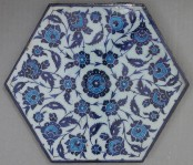 Tile with floral decoration, dated ca. 1535, Iznik, Turkey. Metropolitan Museum of Art