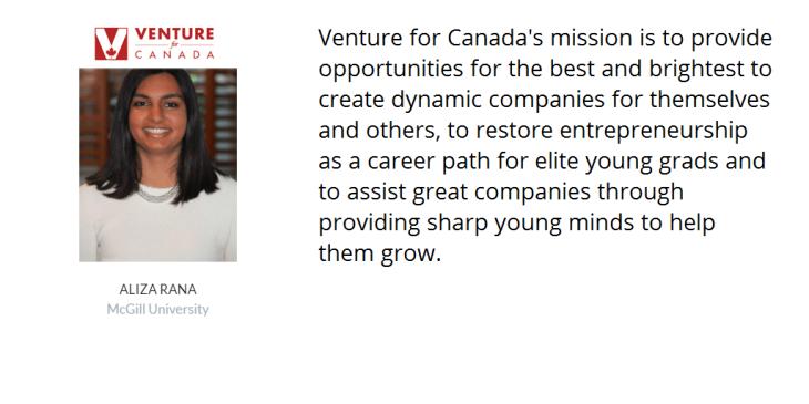 Aliza Rana appointed 'Venture for Canada' Fellow