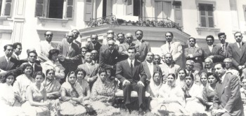 With Ismaili leaders, Villa Barakat, July 13, 1957