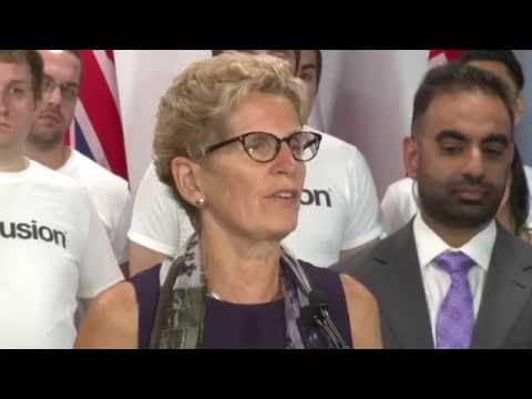 Alim Somani, President Infusion Development Canada, introduces Ontario Premier Kathleen Wynne for Government's Economic Plan