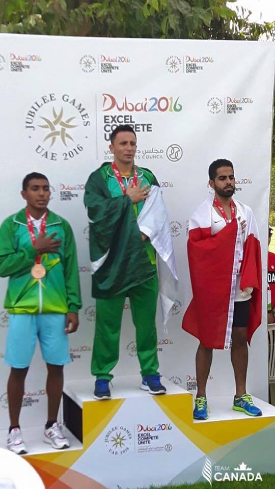 Ali Aamir of Chitral in 100m and 200m at Jubilee Games Dubai 2016