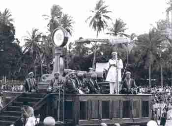 Imam Sultan Mahomed Shah addresses gathering at Diamond Jubilee celebration in Dar-es Salaam, Aug 15, 1946.
