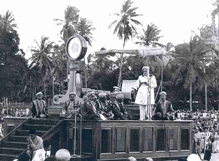 Imam Sultan Mahomed Shah addresses gathering at Diamond Jubilee celebration in Dar-es Salaam, Aug 15, 1946.
