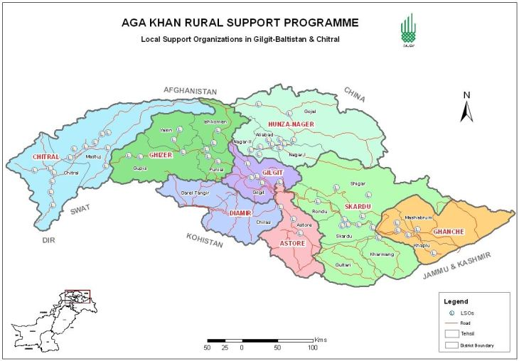 Aga Khan Rural Support Programme Pakistan (AKRSP, P) - Programme Area Map (Image credit: AKRSP,P)
