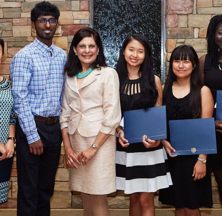 Dr. Gulshan Harjee., third from left, with studens wishing to be doctors