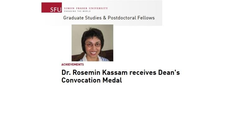 Dr. Rosemin Kassam receives Dean's Convocation Medal from Simon Fraser University