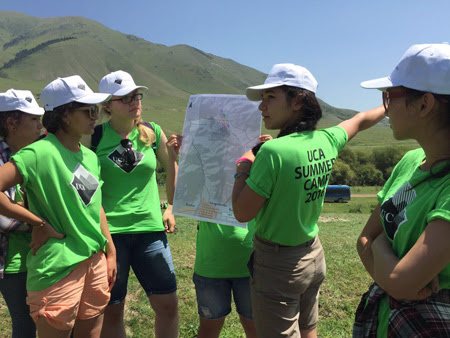Summer camp participants present a plan for future development and zoning in Grigorievka.
