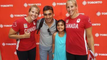 KC Fraser Genny Orton Team Canada Canoe members with Salim Sameeyah Nensi