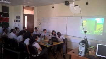 Grade 12 learners at Aga Khan Academy keenly listening to a talk about the role of Windows 10 in smart homes.