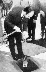 Mawlana Hazar Imam laying the foundation of a Jamatkhana in Khulna, India (1971)