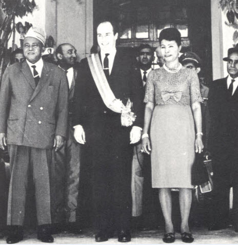 With Philibert Tsiranana, President of the Malagasy Republic, and his wife, 1960. Photo: 25 Years in Pictures