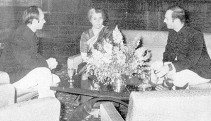 With Prince Amyn and Prime Minister Indira Gandhi, India, 1969. Photo: via Pinterest