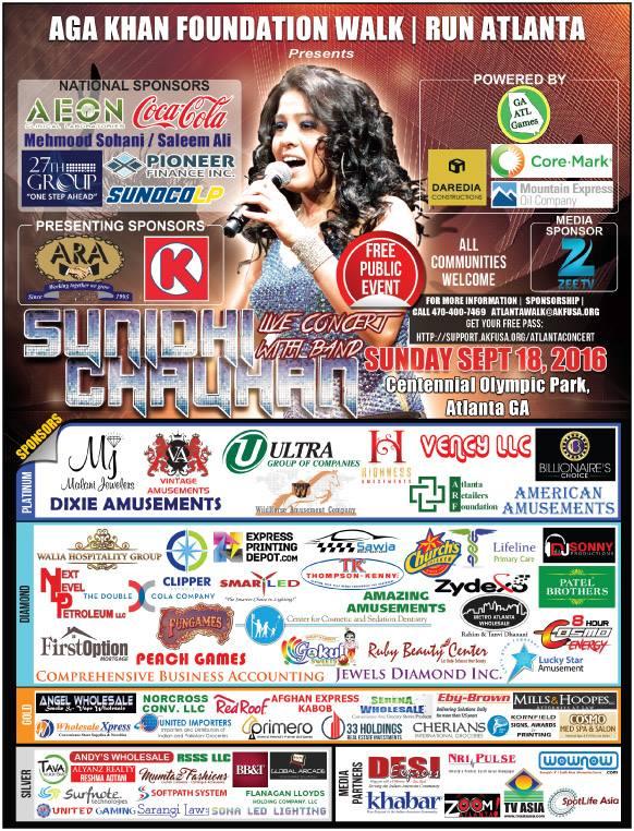 Aga Khan Foundation Atlanta Presents Indian Singer Sunidhi Chauhan Live In Concert on Sunday September 18, 2016