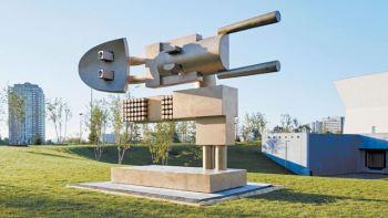 Three sculptures by Iranian-Canadian artist Parviz Tanavoli on display at Aga Khan Park