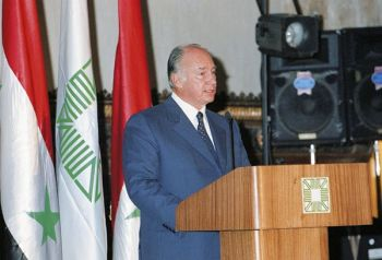 His Highness the Aga Khan speaking at the Aga Khan Award for Architecture ceremony held in Aleppo. AKDN / Patrick Ruchdi
